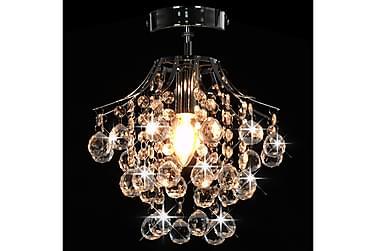 Loftlampe Med Krystalperler Rund E14 Sølvfarvet