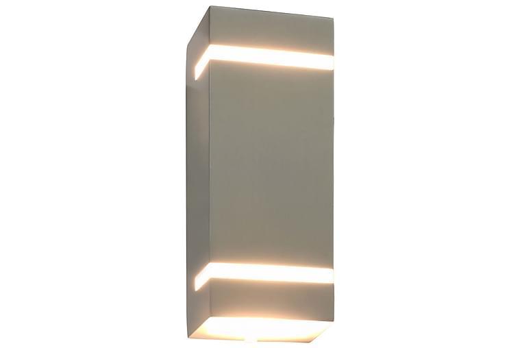 Udendørs Væglamper 2 Stk. Rektangulær 35 W Sølvfarvet - Sølv - Belysning - Lamper - Væglampe