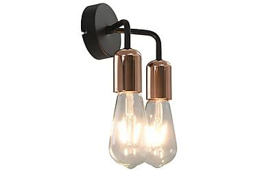 Væglampe Med Glødepærer 2 W E27 Sort Og Kobber