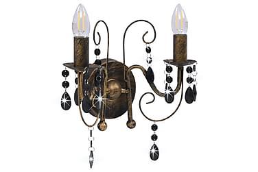 Væglampe Med Perler 2 X E14-Pærer Antik Sort