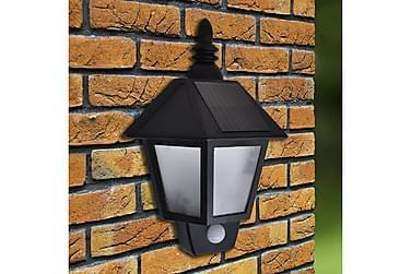 Soldrevne Væglamper 2 Stk. Med Bevægelsessensor Sort