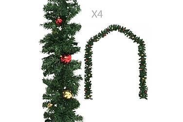 Juleguirlander 4 Stk. Med Kugler 270 Cm Pvc Grøn