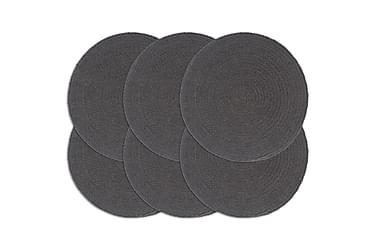 Dækkeservietter 6 stk. rund 38 cm bomuld mørkegrå