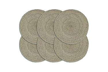 Dækkeservietter 6 stk. rund 38 cm jute grå