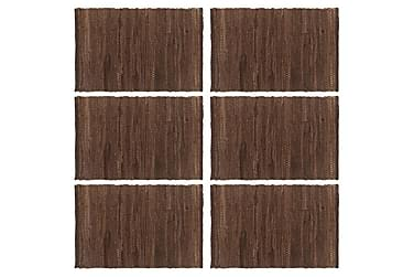 vidaXL dækkeservietter 6 stk. 30 x 45 cm bomuld chindi brun