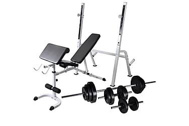 Træningsbænk Med Vægtstativ, Vægtstang- & Håndvægtsæt 30,5Kg