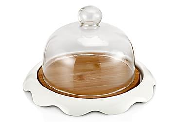 Noble Life kagefad med lås 26 cm rundt porcelæn