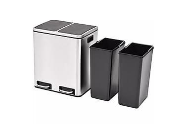 Affaldsbeholder Til Genbrug Med Pedal Rustfrit Stål 2 X 15 L