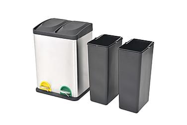 Affaldsbeholder Til Genbrug Med Pedal Rustfrit Stål 2 X 18 L