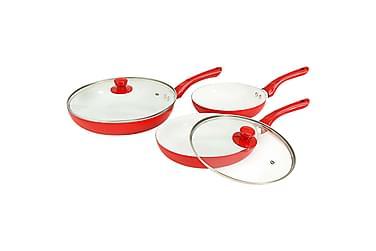 Stegepandesæt 5 Dele Rød Aluminium