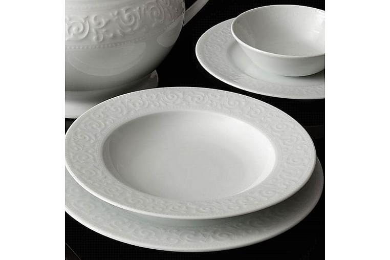 Kütahya Porcelæn Middagsservice 53 Dele Porcelæn - Hvid - Boligtilbehør - Køkkenudstyr - Tallerkener
