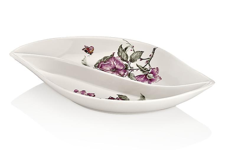 Noble Life Tallerken 26 cm Porcelæn - Hvid/Lyserød/Grøn - Boligtilbehør - Køkkenudstyr - Tallerkener