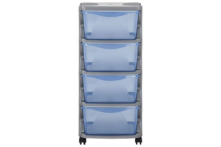 skuffeskab med hjul 36x40x80 cm grå og blå - Grå - Boligtilbehør - Kurve & kasser - Kasser