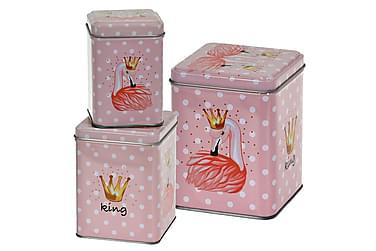 Leandre Burk Flamingo Firkantet Prikket Sæt m. 3