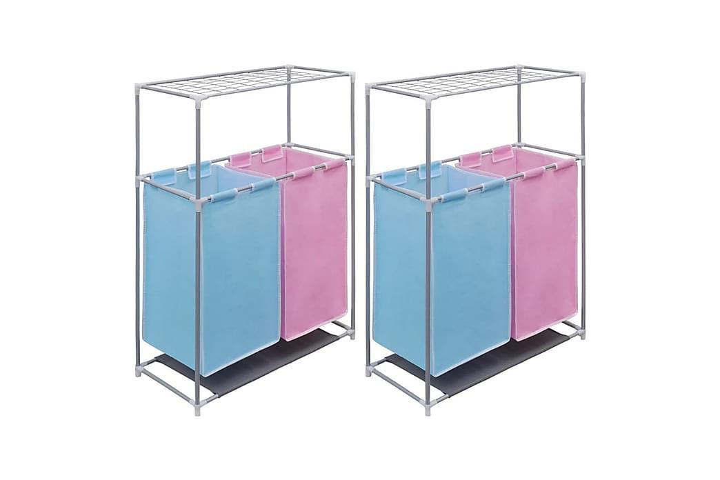 sektionsinddelt vasketøjskurv 2 stk. m. tørrehylde - Flerfarvet - Boligtilbehør - Kurve & kasser - Vasketøjskurve