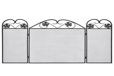 Pejseskærm Med 3 Paneler Jern Sort