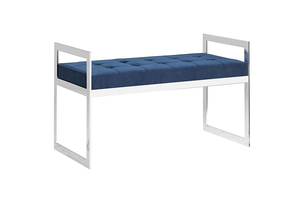 Bænk 97 cm fløjl og rustfrit stål blå - Blå - Boligtilbehør - Små møbler - Bænk