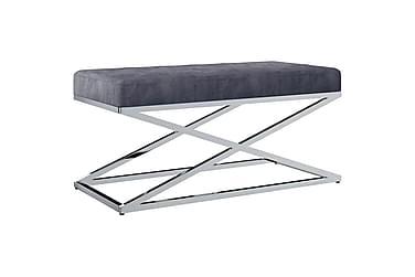 vidaXL bænk 97 cm fløjl stof rustfrit stål grå