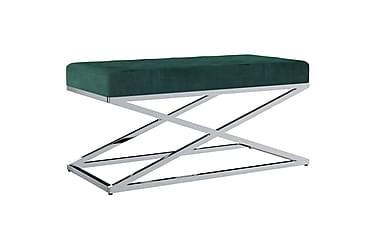 vidaXL bænk 97 cm fløjl stof rustfrit stål grøn