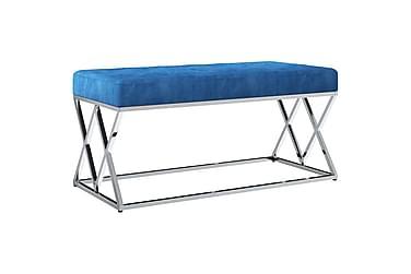 vidaXL bænk 97 cm fløjlsstof rustfrit stål blå