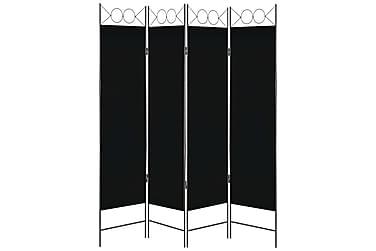 4-Panels Rumdeler 160 X 180 Cm Sort