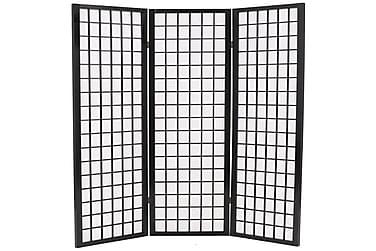 Foldbar 3-Panels Rumdeler Japansk Stil 120 X 170 Cm Sort