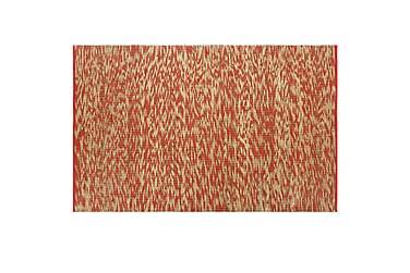 Håndlavet Tæppe Jute 80 X 160 Cm Rød Og Naturfarvet