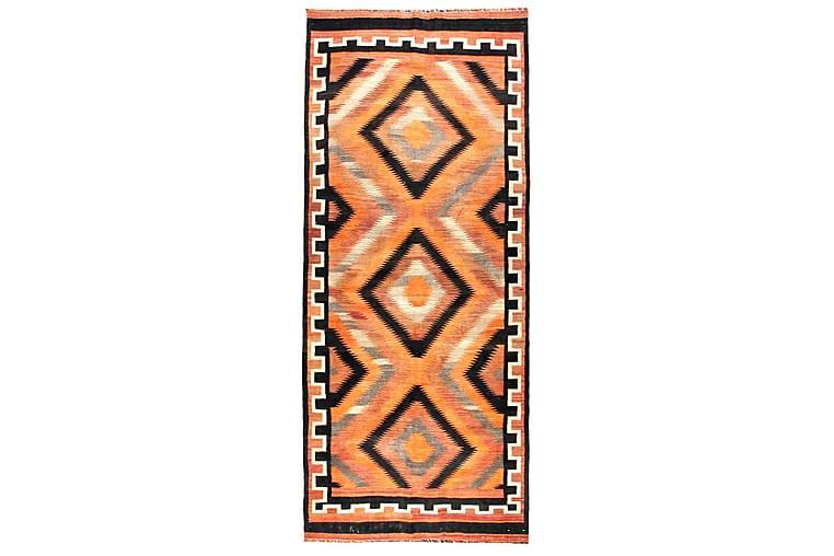 Håndknyttet Persisk tæppe 131x320 cm Kelim - Orange / sort - Boligtilbehør - Tæpper - Kelimtæpper