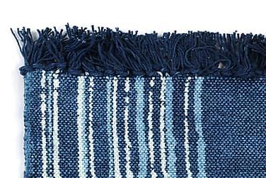 Kilim-Tæppe Med Mønster Bomuld 160 X 230 Cm Blå