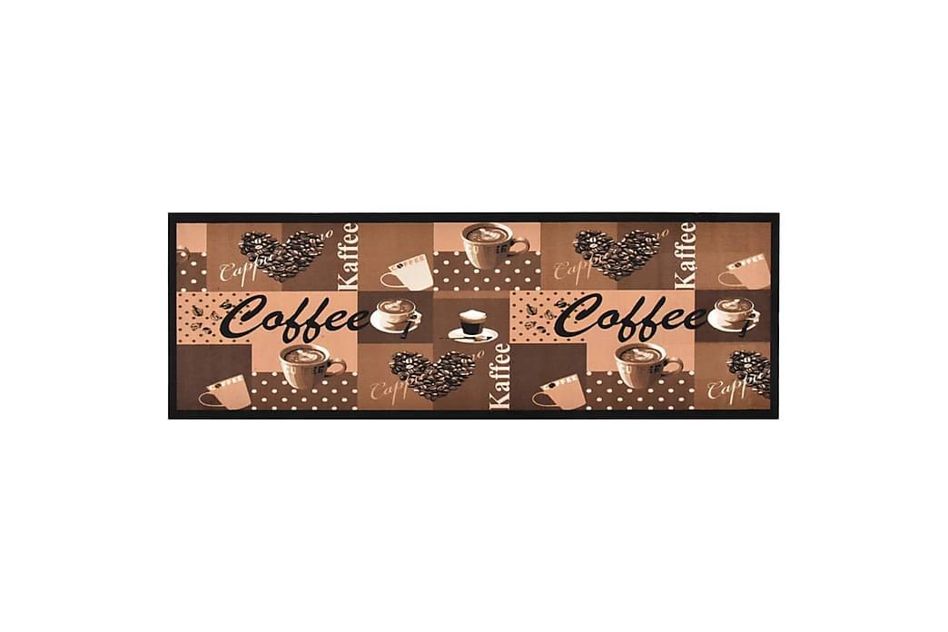 vaskbar køkkenmåtte 60x180 cm kaffetryk brun - Flerfarvet - Boligtilbehør - Tæpper - Kludetæpper
