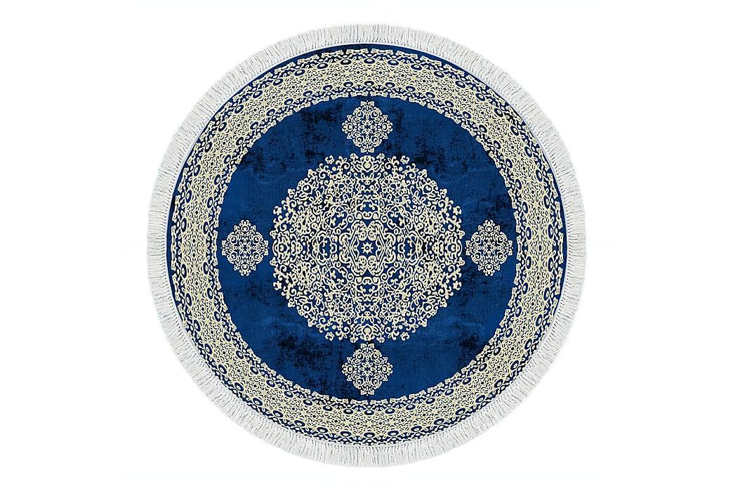 Alanur Home Tæppe 100x100 cm - Cremehvid/Blå - Boligtilbehør - Tæpper - Mønstrede tæpper
