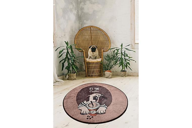 Kouhii Tæppe Rund 100 cm - Flerfarvet/Velour - Boligtilbehør - Tæpper - Mønstrede tæpper