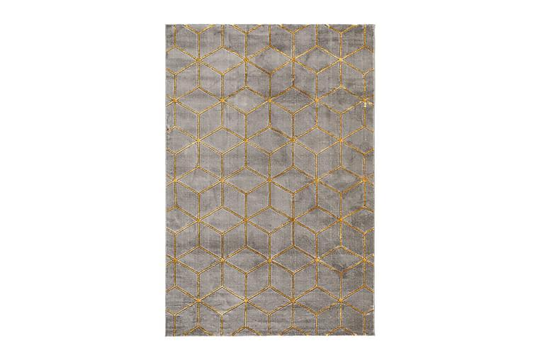 Skravelsbo Cube Tæppe 133x190 cm - Antracit/Guld - Boligtilbehør - Tæpper - Mønstrede tæpper