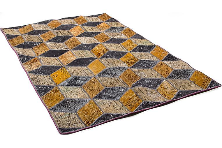 Håndknyttet patchwork tæppe uld / garn flerfarvet 143x216cm - Boligtilbehør - Tæpper - Patchwork tæppe