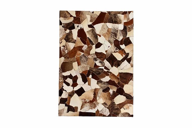 tæppe ægte kolæder patchwork 120x170 cm tilfældig brun/hvid - Flerfarvet - Boligtilbehør - Tæpper - Pels & skindtæpper