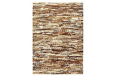 gulvtæppe ægte læder med hår 120 x 170 cm brun/hvid