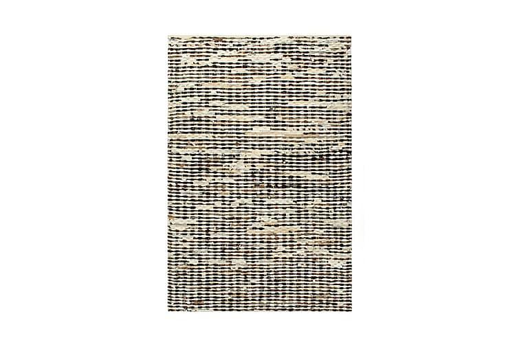 gulvtæppe ægte læder med hår 160 x 230 cm sort/hvid - Sort - Boligtilbehør - Tæpper - Pels & skindtæpper