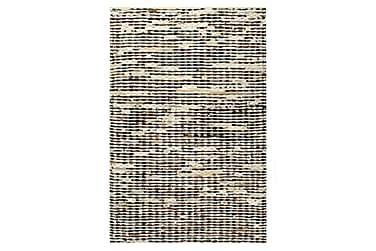 gulvtæppe ægte læder med hår 80 x 150 cm sort/hvid
