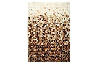 patchworktæppe ægte læder med hår 80 x 150 cm brun/hvid