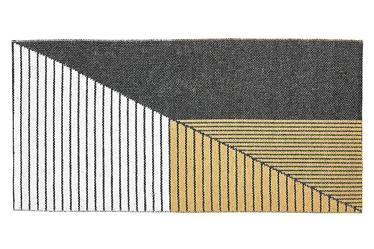 Stripe Plastikmåtte 70x140 Vendbar PVC Sort/Gul