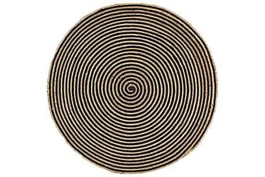 Håndlavet Jutetæppe Med Spiralprint 120 Cm Sort