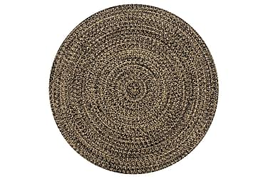 Håndlavet Tæppe Jute 150 Cm Sort Og Naturfarvet
