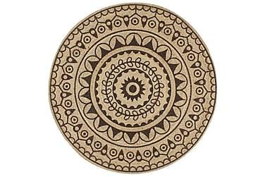 Håndlavet Tæppe Med Mørkebrunt Mønster Jute 120 Cm