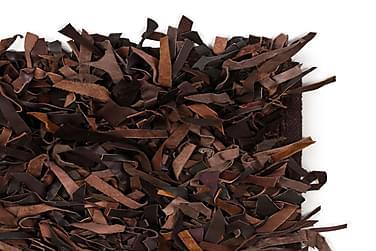 Shaggy Tæppe Ægte Læder 190 X 280 Cm Brun