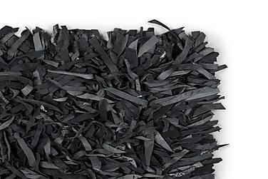 Shaggy Tæppe Ægte Læder 190 X 280 Cm Grå
