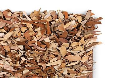 Shaggy Tæppe Ægte Læder 190 X 280 Cm Gyldenbrun