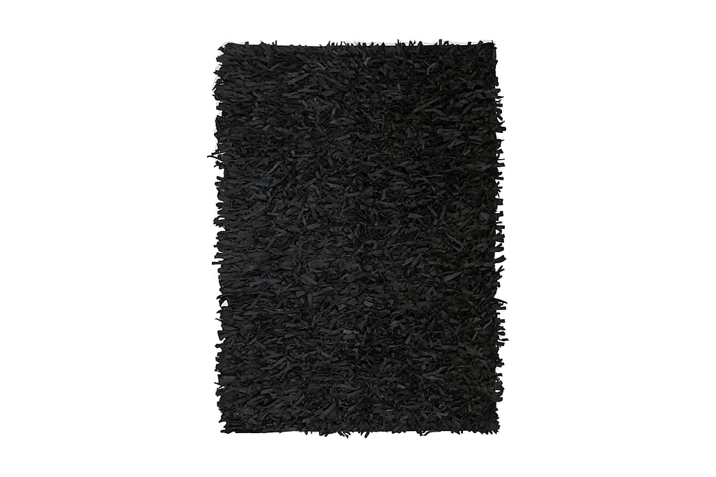 Shaggy Tæppe Ægte Læder 80 X 160 Cm Sort - Sort - Boligtilbehør - Tæpper - Ryatæpper