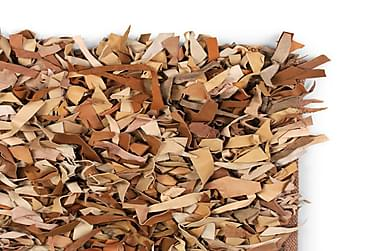 Shaggy Tæppe Ægte Læder 80 X 160 Cm Gyldenbrunt