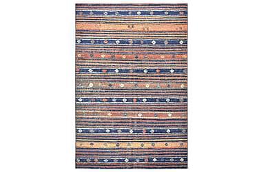 gulvtæppe 140 x 200 cm PP blå og orange