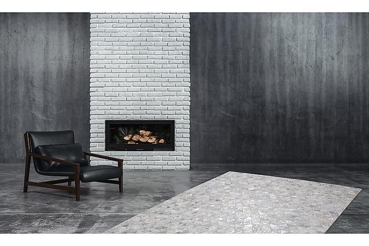 Hingre Ldu Tæppe 160x230 cm Grå/Sølv/Læder - D-Sign - Boligtilbehør - Tæpper - Store tæpper